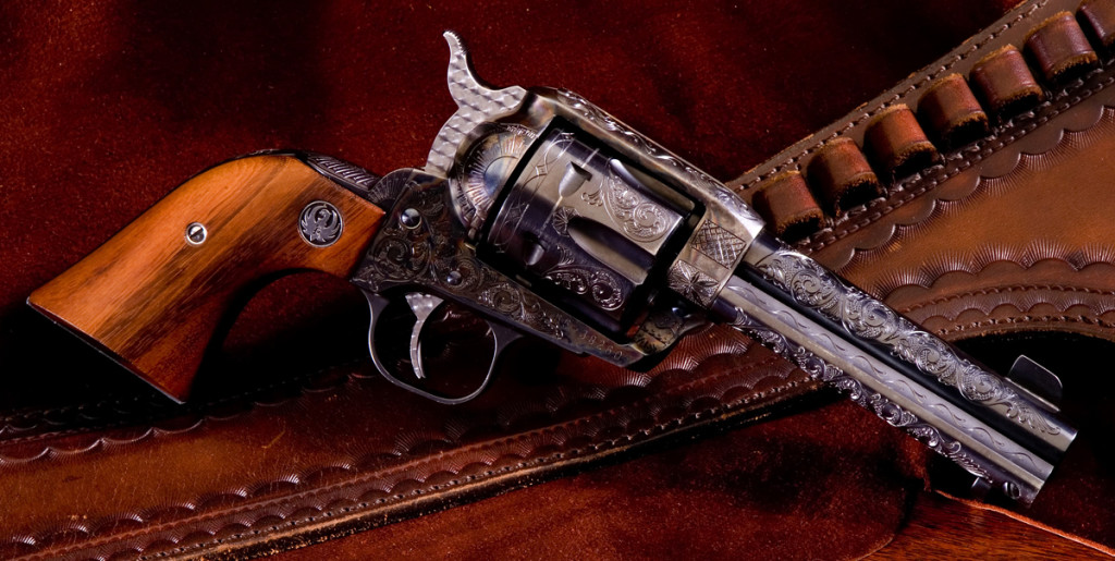 This Ruger Vaquero is fully engraved and cost $1200 for the engraving. Each order is priced depending on the time spent for engraving but this is typical of the single action revolvers.